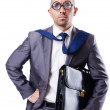 Foto Stock: Funny nerd businessman on the white