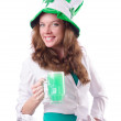 Foto Stock: Young girl in saint patrick celebration concept