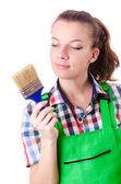 Woman painter with paintbrush on white — Foto Stock