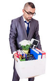 Man being fired with box of personal stuff — Stock Photo