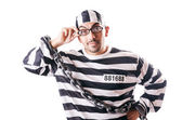 Convict criminal in striped uniform — Stock Photo