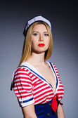 Frau seemann kostüm - marine-konzept — Stockfoto