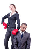 Office pair fighting isolated on white — Stock Photo