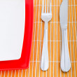 Table setting with knife and fork — Stock Photo