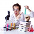 Crazy female chemist in lab — Stock Photo #23475148