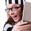 Royalty-Free Stock Photo: Criminal hacker with laptop on white