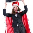 Woman queen in funny concept - Stock Photo