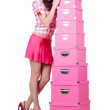 Royalty-Free Stock Photo: Young woman with storage boxes on white