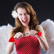 Woman with bow in valentine concept - Stockfoto