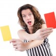 Woman referee with card on white — Stock Photo #23652545