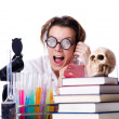Crazy woman chemist in lab - Stockfoto