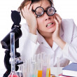 Crazy woman chemist in lab — Stock Photo