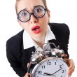 Woman businesswoman with giant clock - Stockfoto