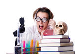 Crazy woman chemist in lab — Stok fotoğraf