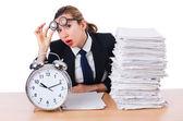 Woman businesswoman with giant alarm clock — Stock Photo