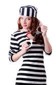 Convict criminal in striped uniform — Stock Photo