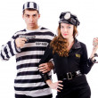 Stock Photo: Police and prison inmate on white