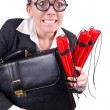 Businesswoman with dynamite on white - Stok fotoraf