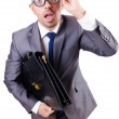 Funny nerd businessman on the white — Stock Photo