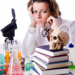 Crazy woman chemist in lab — Stockfoto