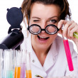 Crazy woman chemist in lab — Foto Stock
