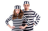 Pair of prisoners isolated on white — Stock Photo