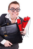 Businesswoman with dynamite on white — Stock Photo