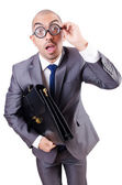 Funny nerd businessman on the white — Stock Photo