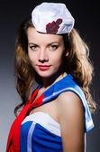 Woman sailor in marine concept — Stock Photo