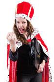 Woman queen in funny concept — Stok fotoğraf