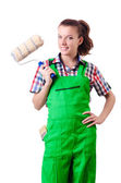Woman painter with paintbrush on white — Stock Photo
