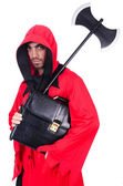Executioner in red costume with axe on white — Stock Photo