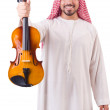 Arab man playing music on white - Stock Photo