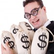 Stock Photo: Businessmwith sacks of money on white