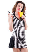 Woman referee with card on white — Stock Photo