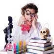 Crazy woman chemist in lab — Stock Photo #24061881