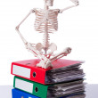 Skeleton with pile of files on white — Stock Photo