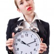 Woman businesswoman with giant clock -  