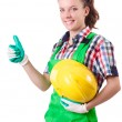 Woman builder isolated on the white — Stock Photo #24063963