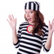 Convict criminal in striped uniform — Stock Photo #24064945