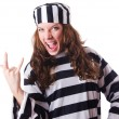 Convict criminal in striped uniform — Stock Photo #24065055