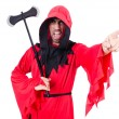 Executioner in red costume with axe on white - Stock Photo