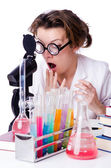 Crazy woman chemist in lab — Stock Photo