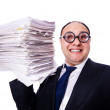 Stock Photo: Funny mwith lots of folders on white