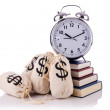 Stock Photo: Sacks of money and alarm clock on white