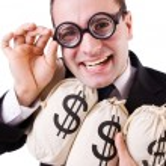 Man with money sacks on white — Stock Photo #24296133
