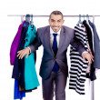 Stock Photo: Businessmwith rack of clothing
