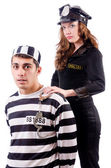 Police and prison inmate on white — Stock Photo