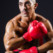 Boxer with red gloves in dark room - Photo