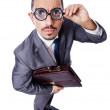 Funny nerd businessman isolated on white - Stock Photo
